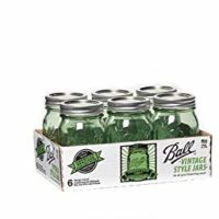 Ball Pint Jars with Lids and Bands, Green, Set of 6